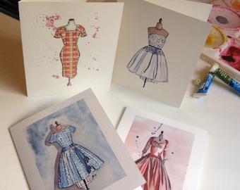 Vintage Dress Cards Ed. 1, Watercolor Art Note Cards, Set of 8