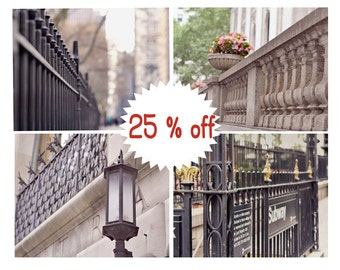 New York City wall art set of 4 nyc gallery wall prints 11x14 wrought iron fence wall art pictures beige neutral decor architecture photos