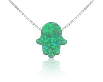 Opal Hand Necklace • Green opal on 925 Sterling Silver Chain • Beautiful Opal Gift Or Green Jewelry Gift and at a Price Bargain