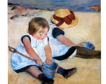 Fine Art Print - Children Playing on the Beach by Mary Cassatt, American Painter - 1993 Vintage Book Page - Reproduction Print - 8.5 x 11