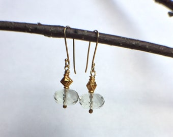 Exquisite Green Amethyst Faceted Rondelle & 18k Yellow Gold Drop Earrings