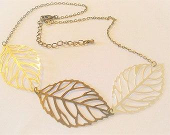 Three Leaf Necklace Brass Leaf Necklace Spring Jewelry Silver Brass Leaf Necklace Jewelry Statement Necklace Leaf Jewelry