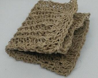 Hand Crochet Natural Hemp Exfoliating Washcloth Eco-Friendly Antibacterial