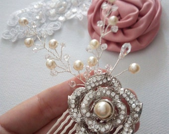 Pearl and Crystal Bridal Hair Comb, Crystal Hair Comb, Wedding Hair Accessories, Vintage Inspired Bridal Hair Comb, Bridal Hair Accessories
