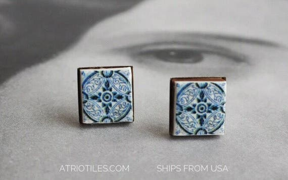 Stud Earrings Blue Tile Portugal Antique Azulejo Stainless Steel Posts Majolica AVEIRO Hypo Allergenic Ships from USA 1499