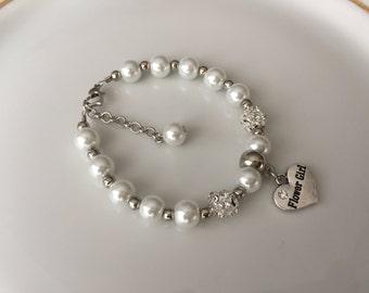 FLOWER GIRL BRACELET! Flower Girl Jewelry, Flower Girls Gift, Ivory Flower Girl Pearl Bracelet, Pearl Jewelry for Flower Girl, Mini Brides