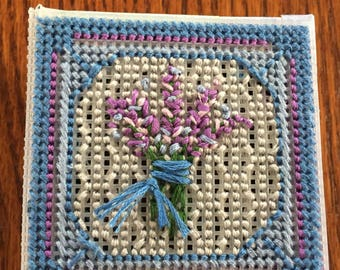 Embroidered lavender sachet box, vented lid to circulate scent, filled with fragrant lavender