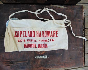 vintage canvas nail apron advertising Copeland Hardware Madison Indiana