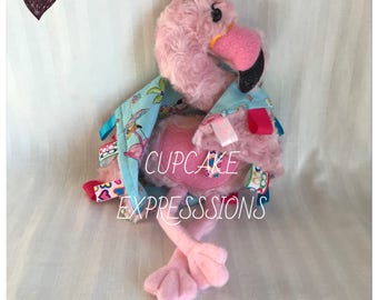 Handmade Little Flamingo Rattle and Squeaker With Matching Security Tag Blanket  - Nursery Pink Beach - Cuddle, Stuffie, Softie, Plush