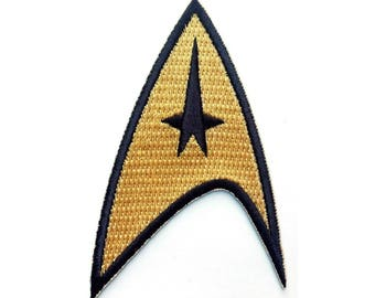 "FREE SHIPPING-Domestic-InspireMeByAudrey Star Trek Command Insignia Full Color Iron-On Patch 3""x2"""