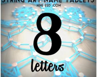 Modern String Art Wooden Name Tablet - 8 letters