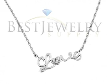 Sterling Silver .925 Rhodium Plated Clear CZ Love Pendant Necklace