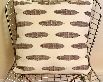 Square brown feather pillow