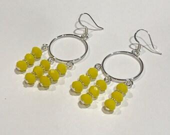 Yellow Glass Chandelier Earrings