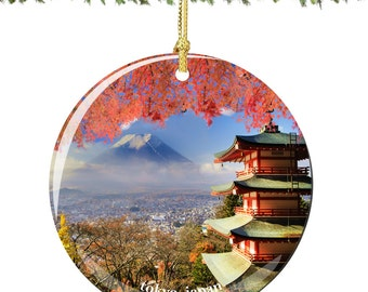 Tokyo Christmas Ornament of Japan in Porcelain, Double Sided 2.75 Inches