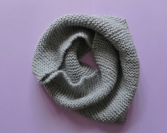 Hand Knit Garter Stitch Snood - Minimalist Infinity Scarf - Grey