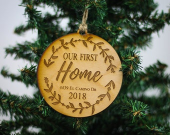 First Home Ornament, Housewarming Gift, New Home Ornament, Personalized Ornament, Custom Ornament, Rustic Ornament, Wood Christmas Ornament