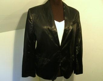 Vintage George Rech Paris Black Satin Blazer Stylish Classic 1980's Jacket Day Evening Dress Casual Designer Clothing Women's Size M L