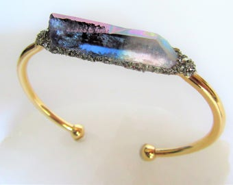 Raw Crystal Bracelet, Crystal Cuff Bracelet, Bridesmaid Gift, Raw Stone Cuff Bangle, Weddings Jewelry, Boho Jewelry, Women Gifts