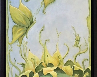 10x20 Original Acrylic Painting Leaving The Nest Ethereal Fantasy Surreal Sunflower by RSalcedo FFAW Free Shipping