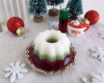 1:6 Scale Miniature Jello Dessert Molded CHRISTMAS Gelatin with 3 Layers of Holiday Colors- Realistic Faux Food for Fashion Dolls & Figures