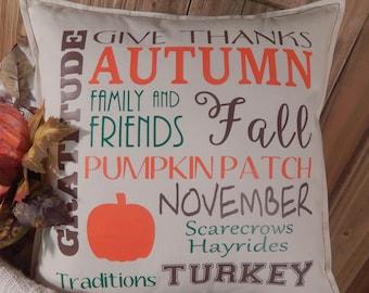 Fall Pillow, Fall Home Decor, Pumpkins, Autumn, Turkey, Pillow Cover, 16 x 16 Pillow, Thanksgiving, Decorative Pillow, Throw Pillow