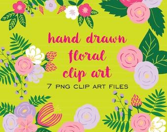 Hand Drawn Floral Clip Art V.2  (Instant Download) clip art, hand drawn, floral, flowers, floral repeat, preppy