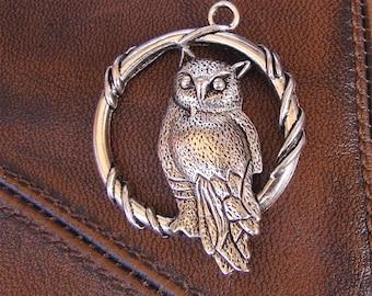 4 pendants OWL antique silver metal, 46mm x 37mm