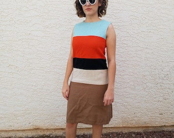 Vintage Louis Feraud French Chic Mod 1960s 60s Colorblock Dress S