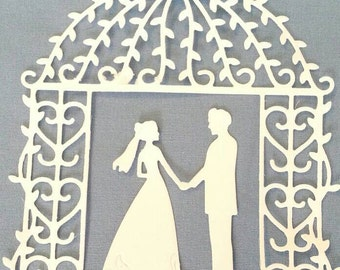 Wedding Couple Groom and Bride with Arch Die Cut Scrapbook / Card Making Supplies 6 pcs / 3 couples 3 arch