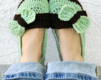 Mint chip slippers, crochet slippers, womens slippers, womens crochet slippers, big bow slippers, winter fashion, socks, shoes, booties
