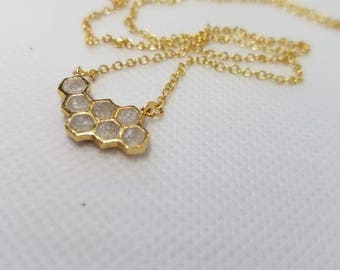 Gold Honeycomb Necklace - Polymer Fill Detail