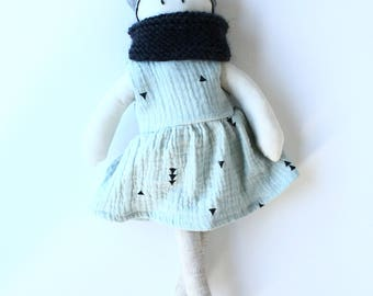 Fabric doll - number 7 - green water, charcoal gray neck warmer