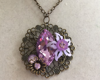 Handmade Repurposed Lavender Necklace Jewelry Assemblage