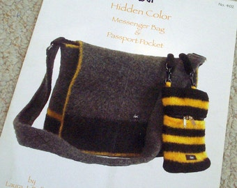 Pattern - Messenger Bag and Passport Pocket - Knitting and Felting Pattern by Noni, design by Laura Bellows
