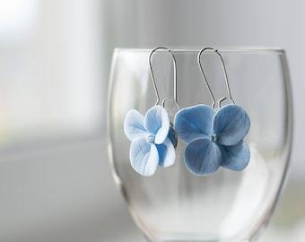 Blue flower earrings - blue jewelry - flower jewelry - hydrangea earrings - floral earrings - botanical nature inspired earrings, garden