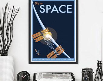 NASA Travel Space X Astronaut Propaganda Mars Jupiter Saturn Neptune  Moon Traveling Tourism Stars Shuttle Planet Minimal Minimalist Poster