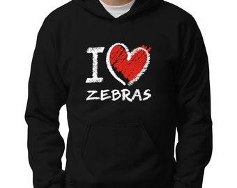 I Love Zebras Chalk Style Hoodie