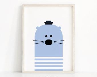Animal Nursery Print, Seal Animal Nursery Art, Printable Nursery Wall Art, Kids Art Print, Printable Kids Room Decor, Blue Nursery Decor