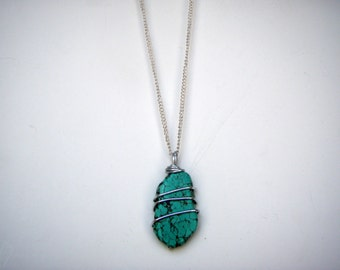 Small Turquoise Silver Wire Wrapped Pendant with Chain Necklace