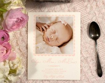 Letterpress Birth Announcement, Letterpress Adoption Announcement, Photo Announcement, Custom Announcement   Small Letterpress Announcement