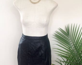 VINTAGE LEATHER SKIRT, pencil, high waist fully lined, rockabilly, pinup, bombshell (1950s 1980s)