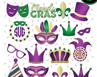 Mardi Gras SVG bundle, Mardi Gras Monogram SVG, Fleur de lis SVG cut files, Vinyl decal for silhouette cameo cricut, Instant download