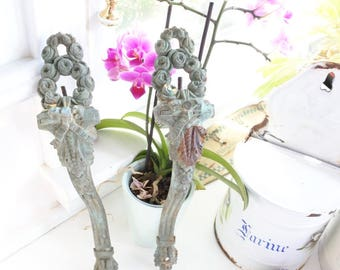 French Curtain Rod Supports, Antique, c. 1890, Verdigris, Heavy, Bronze, Valentines gift, Ribbons, Wreaths, Curtain Holdback, Romantic