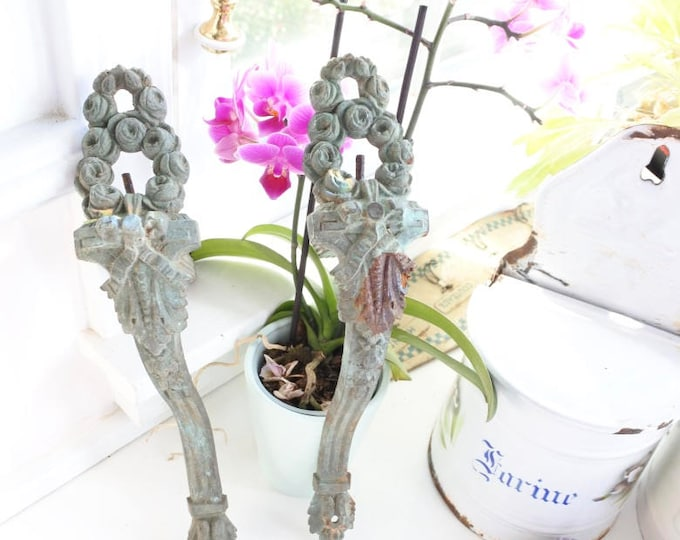Featured listing image: French Curtain Rod Supports, Antique, c. 1890, Verdigris, Heavy, Bronze, Valentines gift, Ribbons, Wreaths, Curtain Holdback, Romantic