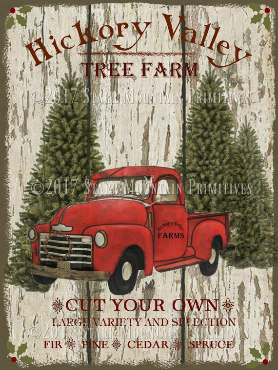 Primitive Farmhouse Christmas Red Truck Tree Farm Label Jpeg