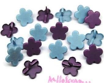 Set of 50 brads, flowers, blue, purple embellishment scrapbooking card making *.