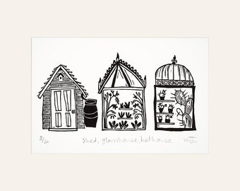 Lino Cut Print - Shed, Glasshouse, Hothouse - Gardening, gifts, plants, garden, greenhouse, cactus, lino cut, prints, green, black and white