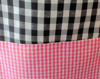 Black and Pink Gingham Check Pullover Dress