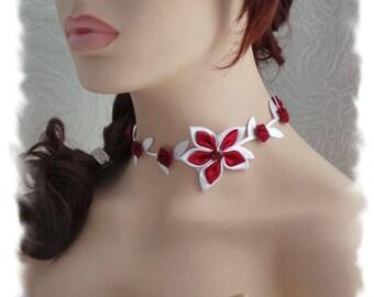 Set bridal necklace + bracelet Burgundy and white